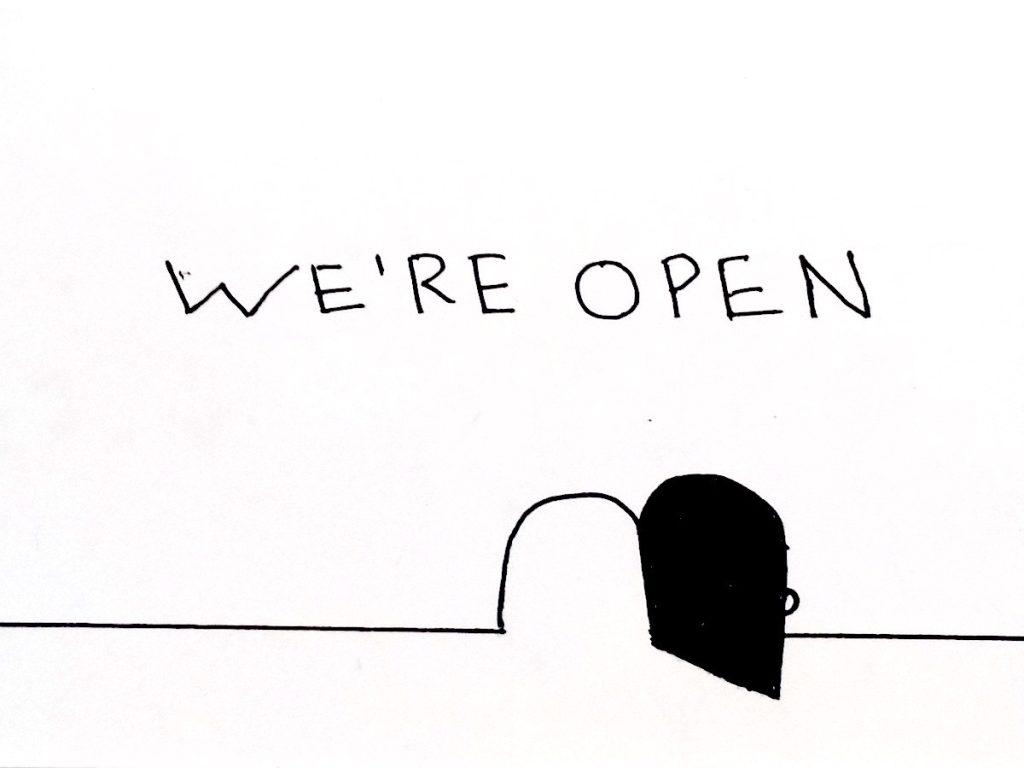 Imagen con un dibujo de una puerta abierta